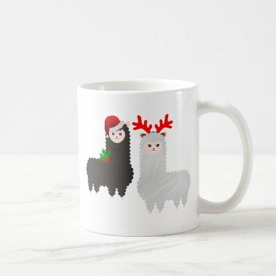 christmas reindeer alpacas coffee mug