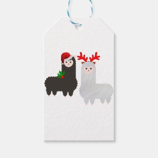 christmas reindeer alpacas gift tags