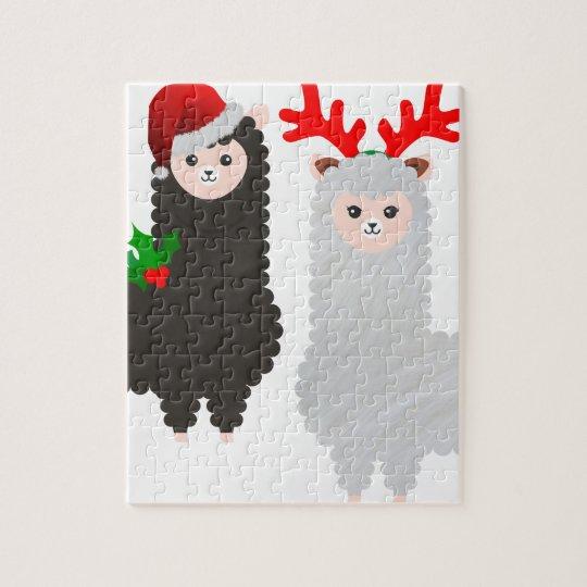 christmas reindeer alpacas jigsaw puzzle