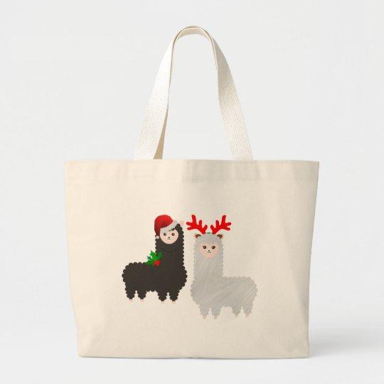 christmas reindeer alpacas large tote bag