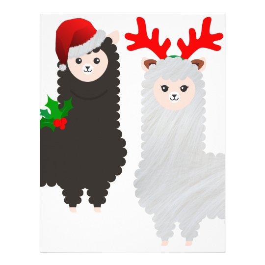christmas reindeer alpacas letterhead