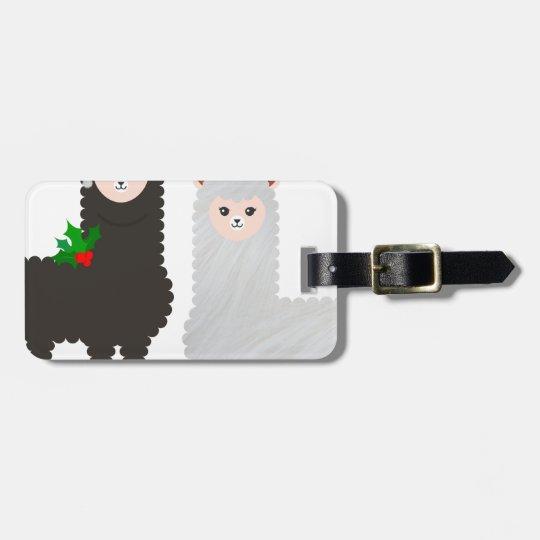 christmas reindeer alpacas luggage tag