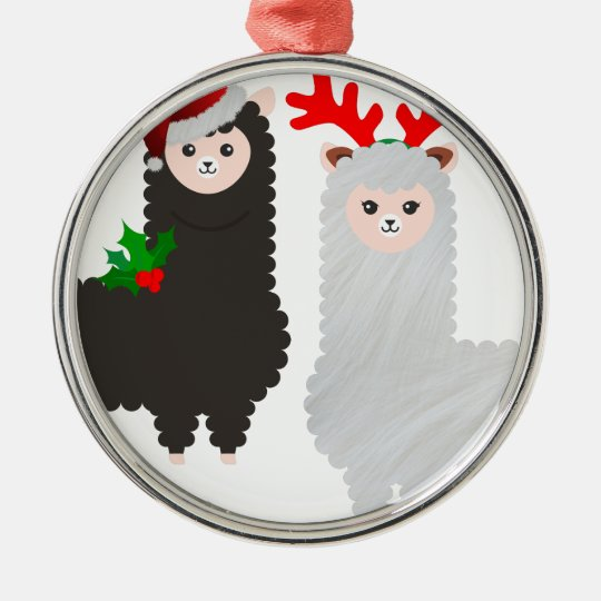 christmas reindeer alpacas metal ornament