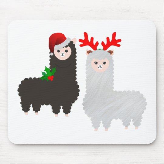 christmas reindeer alpacas mouse pad