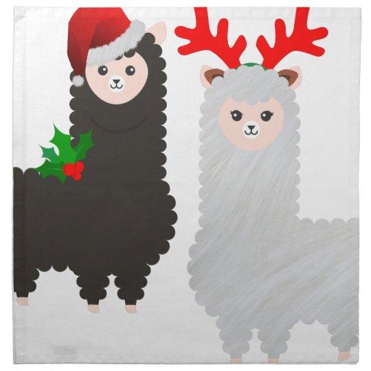 christmas reindeer alpacas napkin