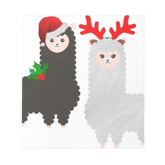 christmas reindeer alpacas notepad