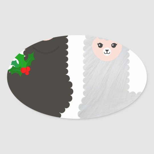 christmas reindeer alpacas oval sticker