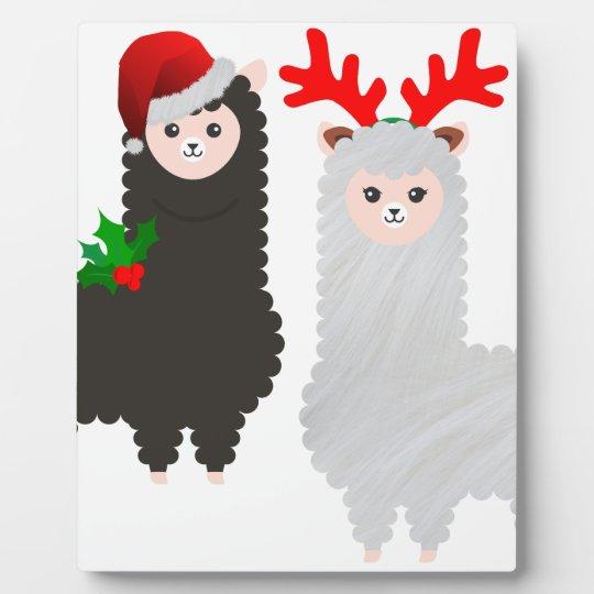 christmas reindeer alpacas plaque