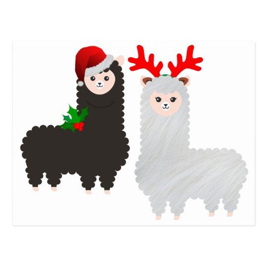 christmas reindeer alpacas postcard