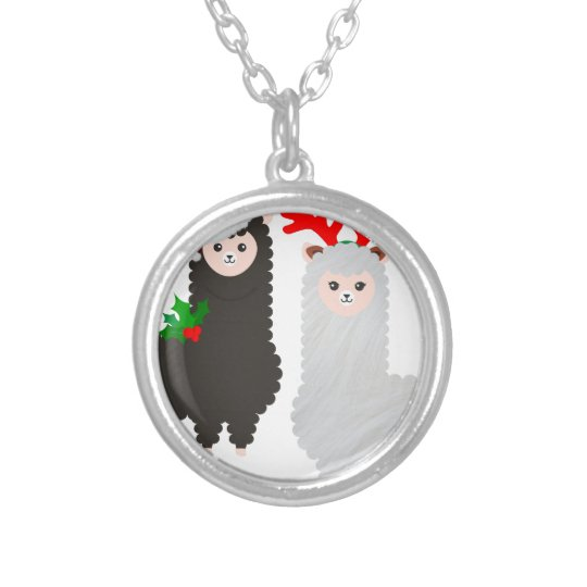 christmas reindeer alpacas silver plated necklace
