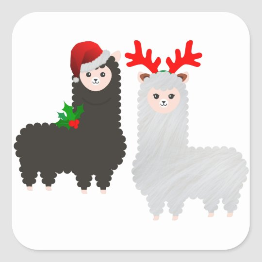 christmas reindeer alpacas square sticker