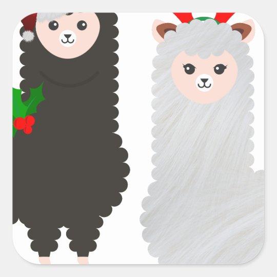 christmas reindeer alpacas square sticker