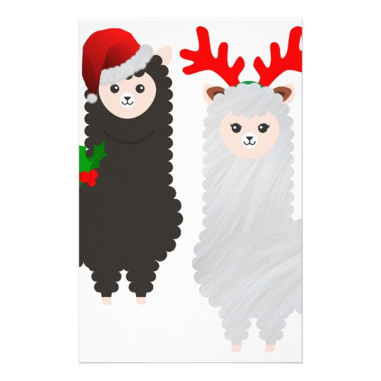 christmas reindeer alpacas stationery