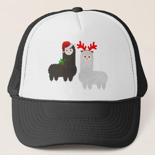 christmas reindeer alpacas trucker hat