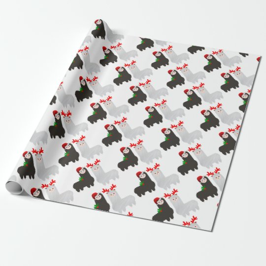 christmas reindeer alpacas wrapping paper