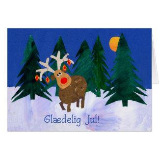 Christmas Reindeer Card with Danish Greeting