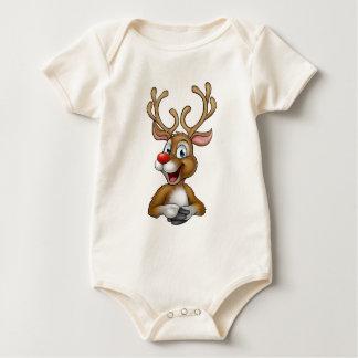 Christmas Reindeer Cartoon Baby Bodysuit