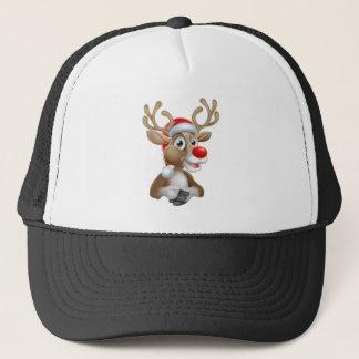 Christmas Reindeer Cartoon With Santa Hat