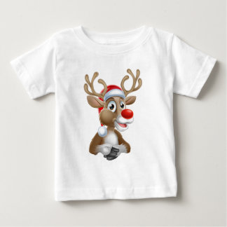 Christmas Reindeer Cartoon With Santa Hat Baby T-Shirt