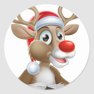 Christmas Reindeer Cartoon With Santa Hat Classic Round Sticker