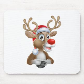 Christmas Reindeer Cartoon With Santa Hat Mouse Pad