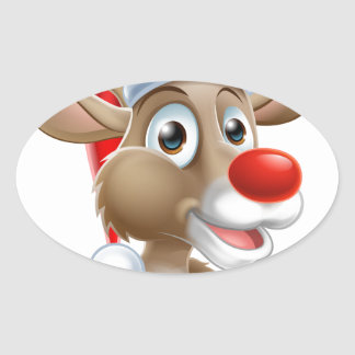 Christmas Reindeer Cartoon With Santa Hat Oval Sticker