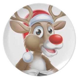 Christmas Reindeer Cartoon With Santa Hat Plate