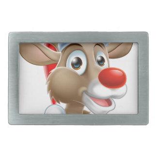 Christmas Reindeer Cartoon With Santa Hat Rectangular Belt Buckle