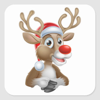 Christmas Reindeer Cartoon With Santa Hat Square Sticker