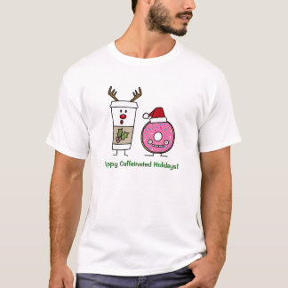 Christmas Reindeer Coffee and Santa Donut T-Shirt