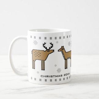 Christmas Reindeer Couple Add Names and Year Coffee Mug