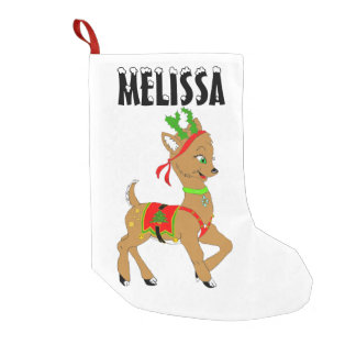 Christmas Reindeer Doe Small Christmas Stocking