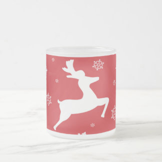 Christmas Reindeer Frosted Glass Mug