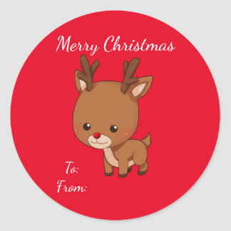 Christmas Reindeer Gift Tag Round Sticker