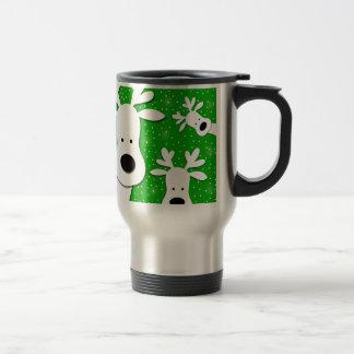 Christmas reindeer - green 2 travel mug