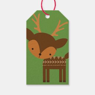 Christmas Reindeer Green Custom Gift Tags Pack Of Gift Tags