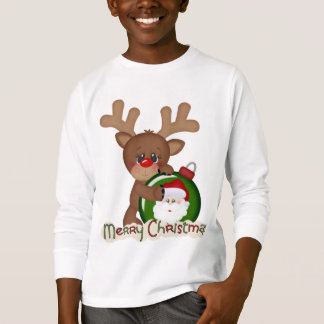 Christmas Reindeer Holiday cartoon kids t-shirt