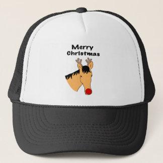Christmas reindeer horse trucker hat