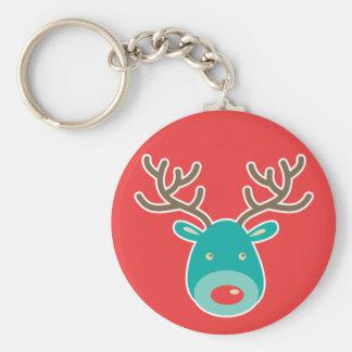 Christmas Reindeer illustration Basic Round Button Keychain