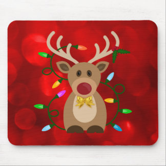 Christmas Reindeer in Lights Mouse Pad