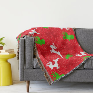 Christmas Reindeer Pattern Print Throw Blanket