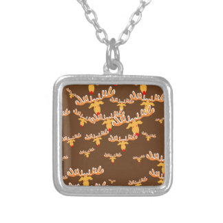 Christmas reindeer pattern silver plated necklace