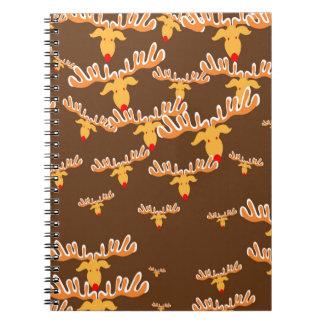 Christmas reindeer pattern spiral notebook