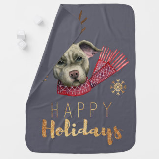 Christmas Reindeer Pit Bull with Faux Gold Fonts Baby Blanket