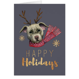 Christmas Reindeer Pit Bull with Faux Gold Fonts Card