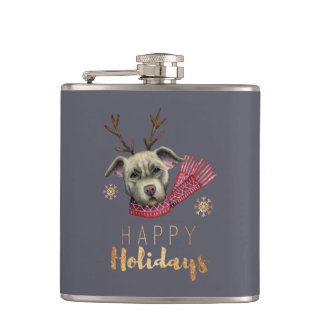 Christmas Reindeer Pit Bull with Faux Gold Fonts Hip Flask
