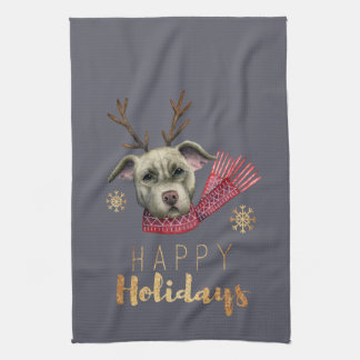 Christmas Reindeer Pit Bull with Faux Gold Fonts Kitchen Towel