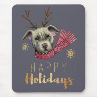 Christmas Reindeer Pit Bull with Faux Gold Fonts Mouse Pad