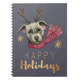 Christmas Reindeer Pit Bull with Faux Gold Fonts Notebook
