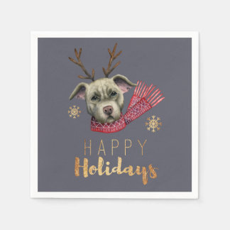 Christmas Reindeer Pit Bull with Faux Gold Fonts Paper Napkin